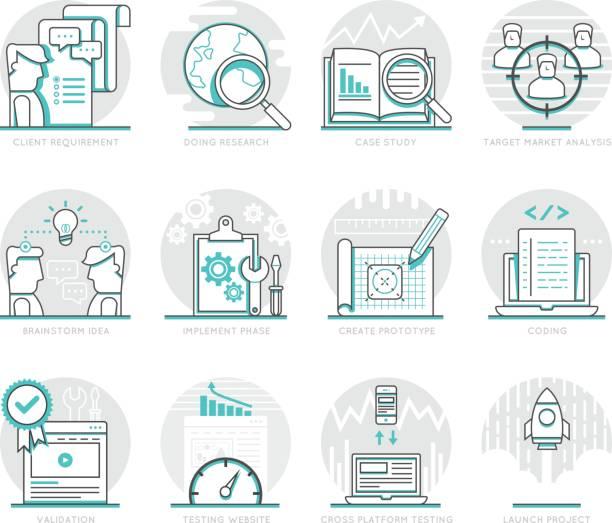 Infographic Icons Elements about Web Development vector art illustration