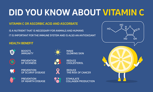 Infographic illustration about Did you know about Vitamin C, Boosts Immune. Flat design
