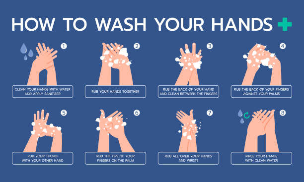 Infographic illustration about how to properly wash your hands, hygienic, Prevent virus. Flat design Precautions : The content in the pictures may not be accurate. Please revise the content before use. showing stock illustrations