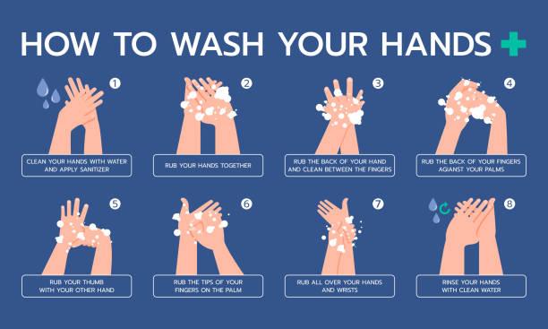 bildbanksillustrationer, clip art samt tecknat material och ikoner med infographic illustration om hur man korrekt tvätta händerna, hygieniska, förhindra virus. platt design - washing hands