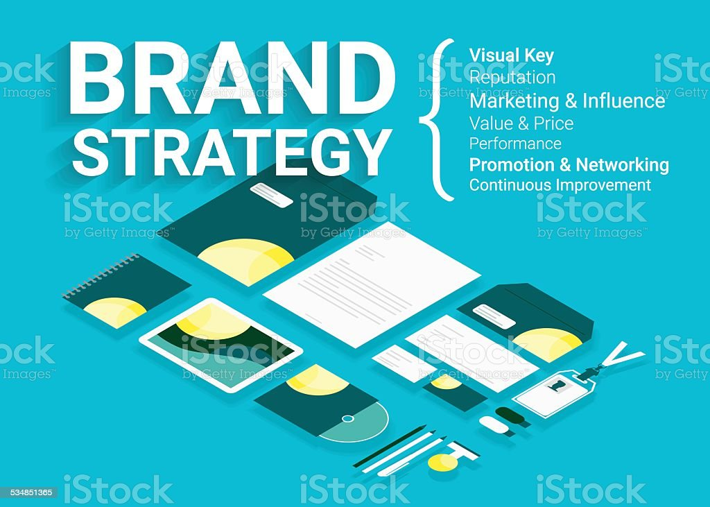 Infographic illustration of Brand strategy - four items vector art illustration