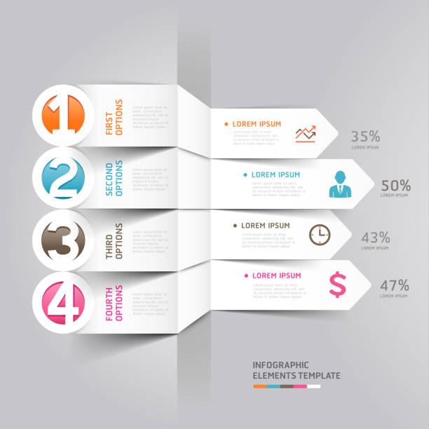 Infographic illustration of numbered arrow tabs Modern arrow infographics element origami style. Can be used for workflow layout, diagram, number options, step up options, web design. one man only stock illustrations