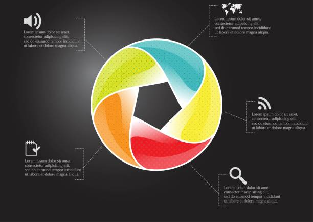 Infographic illustration vector template with motif of circle divided to five color parts. Each section is joined with sign and sample text. Background is dark black. vector art illustration