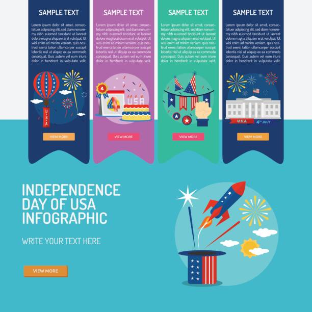 infographic independence day of usa - white house stock illustrations