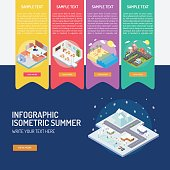 Infographic Isometric City Winter
