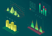 Infographic isometric vector graph elements. Data and business financial diagrams graphs. Statistic data. Template for presentation, sales banner, income report design, website