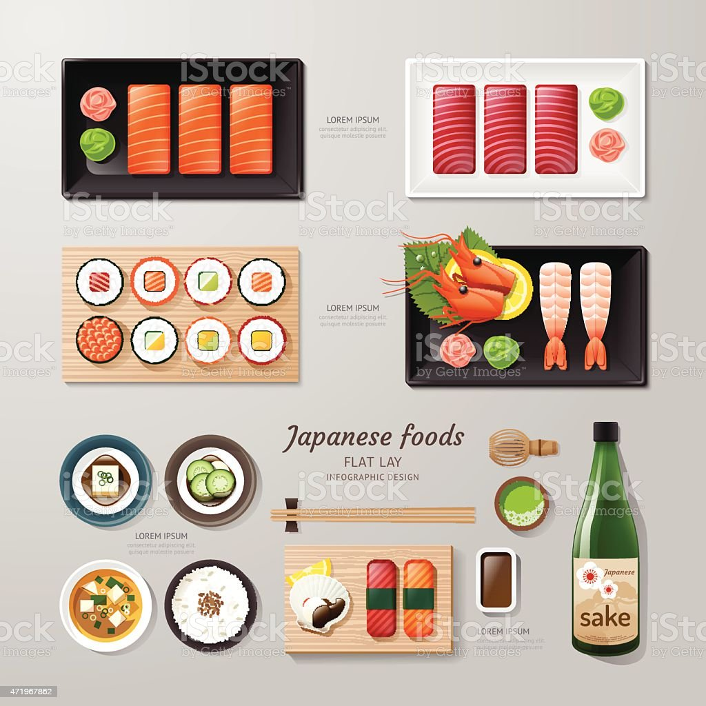 Infographic japanesse foods business flat lay idea. vector art illustration