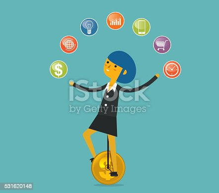 A busy businesswoman juggling, Illustration Eps10 format, which contains a transparency effect.