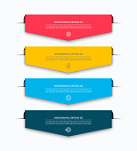 Infographic layout template with 4 arrows, labels, tags. Origami style. Can be used for diagram, options, chart, report, web design