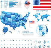 USA - infographic map - Illustration