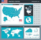Vector maps of USA with variable specification and icons
