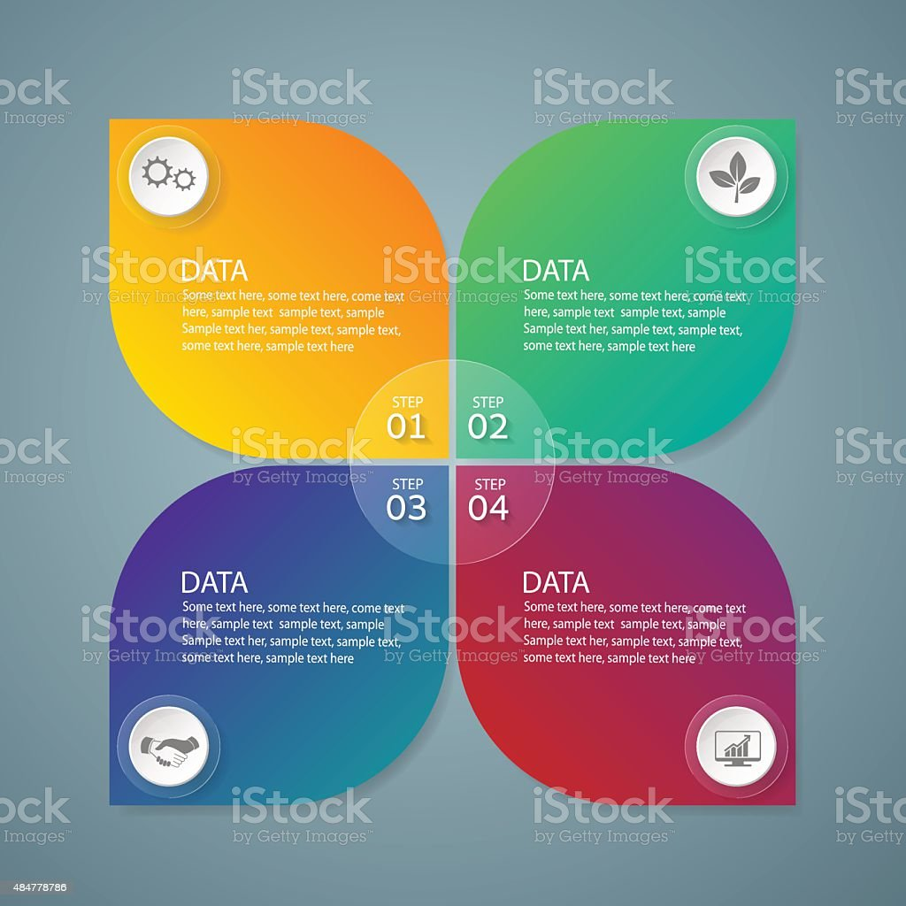 Infographic marketing icons, Business concept with 4 options vector art illustration