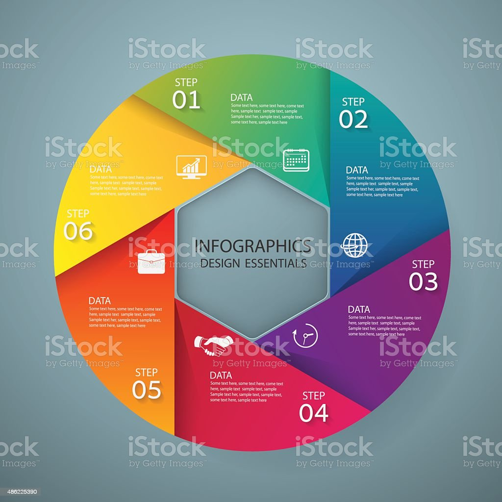 Infographic marketing icons, Business concept with 6 options vector art illustration