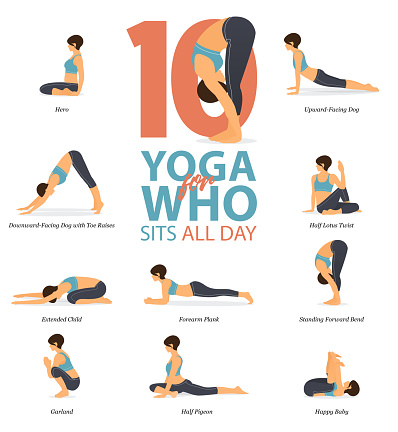 infographic of 10 yoga poses for yoga at home in concept