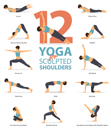 infographic of 12 yoga poses for sculpted shoulders in