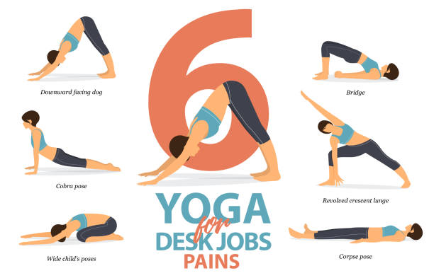 Infographic of 6 Yoga poses for desk jobs pains in flat design. Beauty woman is doing exercise for body stretching. Set of yoga sequence Infographic.  Cartoon Vector art. Infographic of 6 Yoga poses for desk jobs pains in flat design. Beauty woman is doing exercise for body stretching. Set of yoga sequence Infographic.  Cartoon Vector art and Illustration. yoga stock illustrations