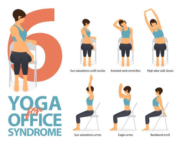 ilustrações de stock, clip art, desenhos animados e ícones de infographic of 6 yoga poses for office syndrome in flat design. beauty woman is doing exercise for strength on office chair. set of yoga postures female figures infographic . vector illustration. - chair