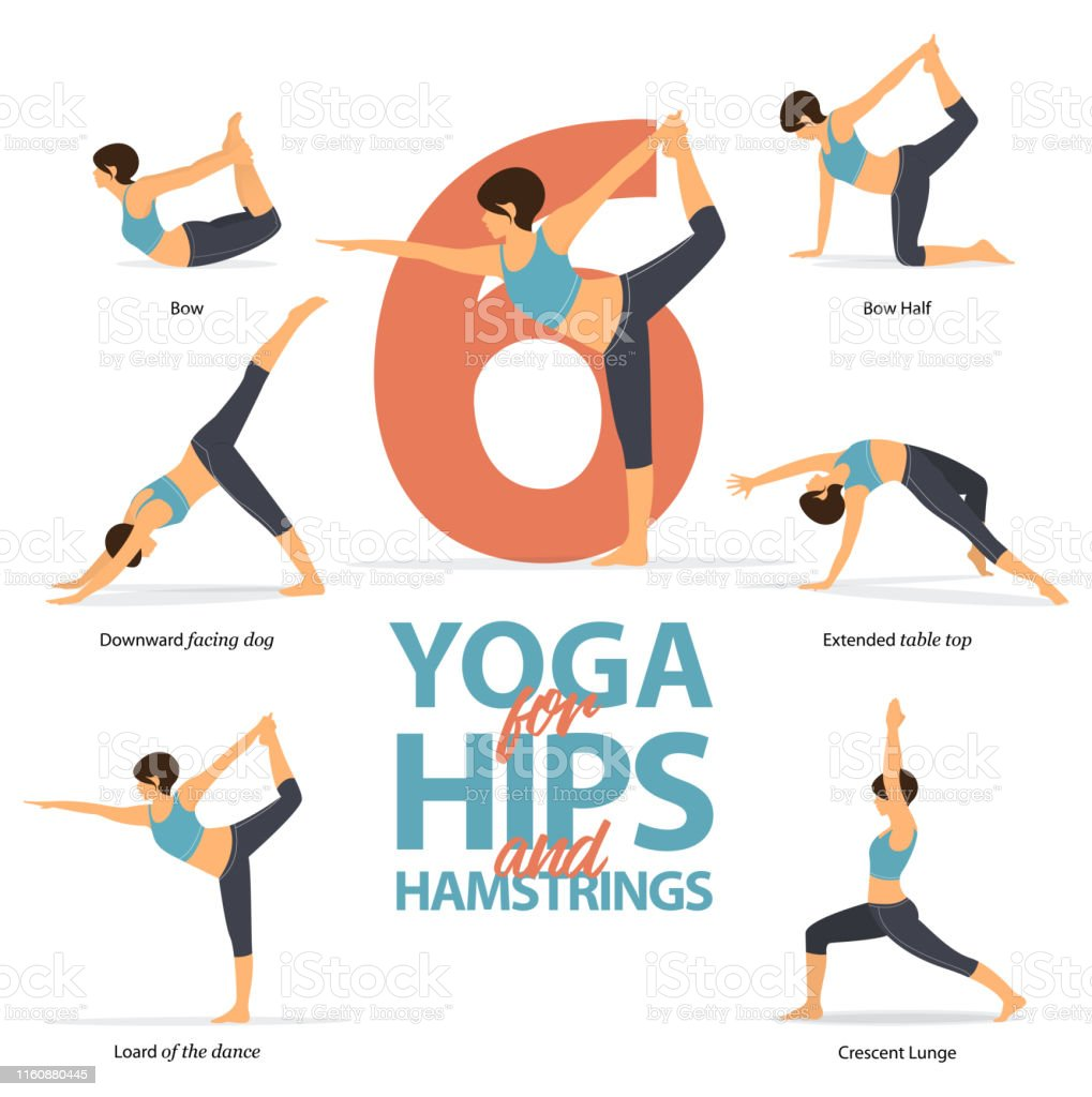 Infographic Of 37 Yoga Poses For Strong Hamstrings In Flat Design Beauty  Woman Is Doing Exercise For Hip Strength Set Of Yoga Postures Female  Figures