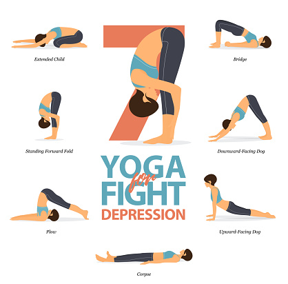 infographic of 7 yoga poses for easy yoga at home in