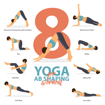 infographic of 8 yoga poses for ab shaping workout in flat