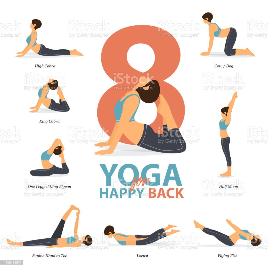 Infographic Of 8 Yoga Poses For Happy Back In Flat Design Beauty Woman Is Doing Exercise For Body Stretching Set Of Yoga Sequence Infographic Yoga Cartoon Vector Stock Illustration Download Image