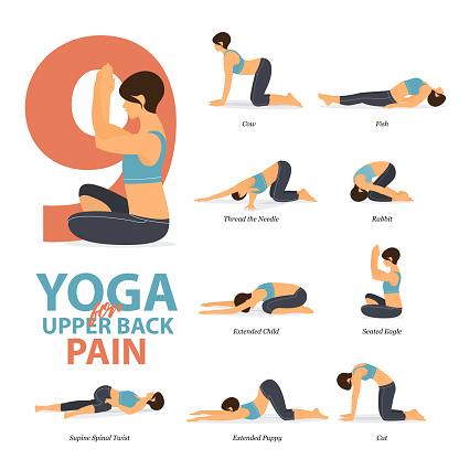 infographic of 9 yoga poses for upper back pains in flat