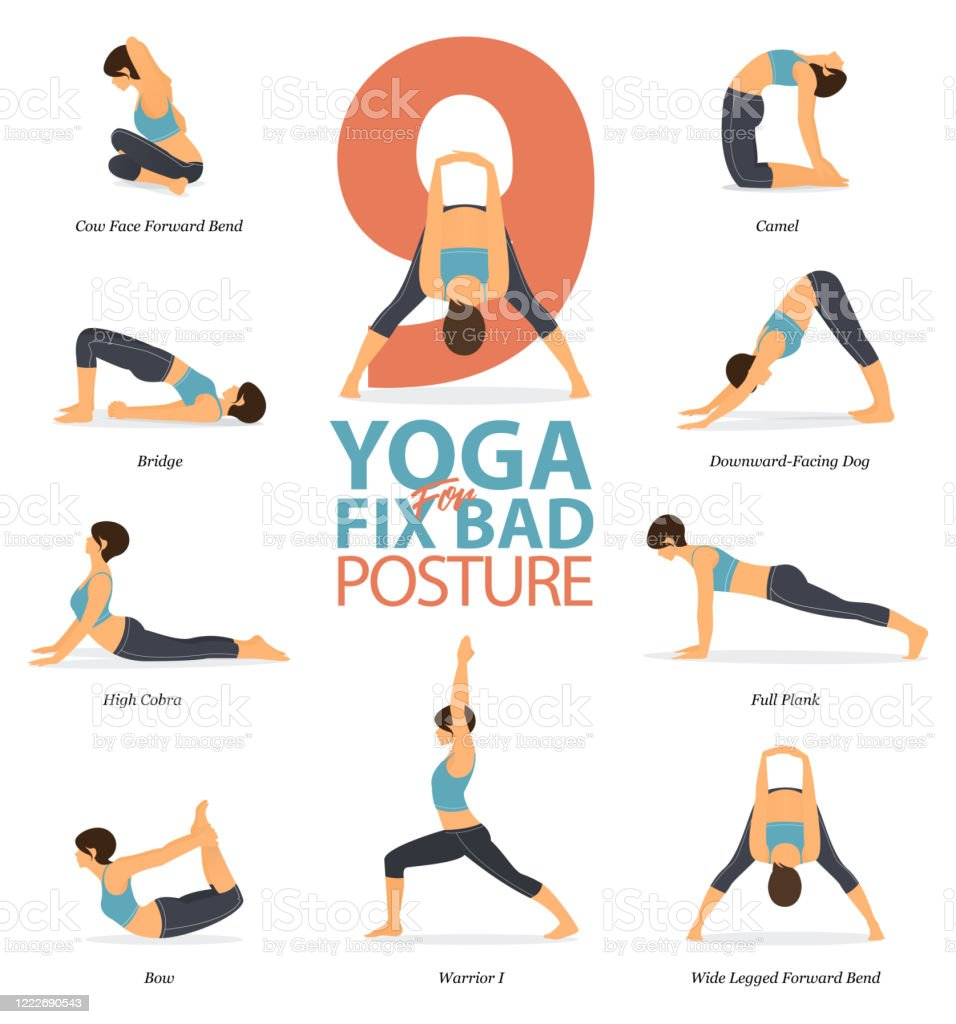 Infographic Of 9 Yoga Poses For Yoga At Home In Concept Of Fix Bad Posture In Flat Design Woman Is Doing Exercise For Body Stretching Set Of Yoga Posture Or Asana Infographic