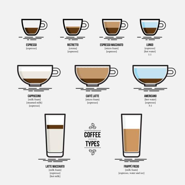 Infographic of coffee types Flat design, vector illustration espresso stock illustrations