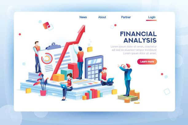 Infographic of Financial Risk Graph Balance financial value, management and administration concept. Characters, people engineering a plan. Statistic, calculating financial risk graph. Flat Isometric characters vector illustration. budget designs stock illustrations