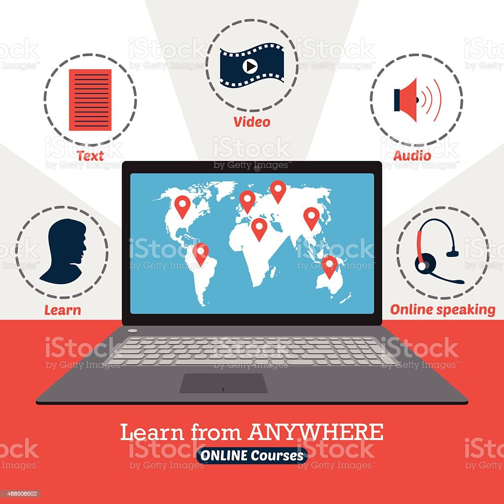 Infographic of online courses. Learn from anywhere vector art illustration