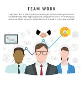 Infographic of team work in flat style. Icons of flow, network, idea, deal. Business concept. Vector Illustration