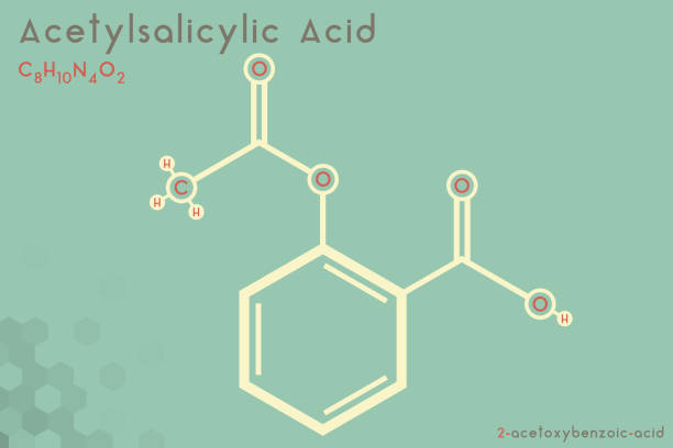 Infographic of the molecule of Acetylsalicylic acid Large and detailed infographic of the molecule of Acetylsalicylic acid. acetylsalicylic stock illustrations