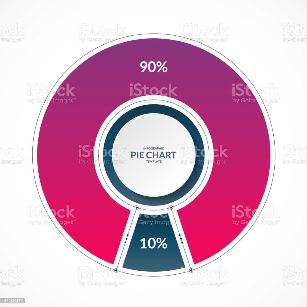 Infographic Pie Chart Circle In Thin Line Flat Style Share Of 90 And