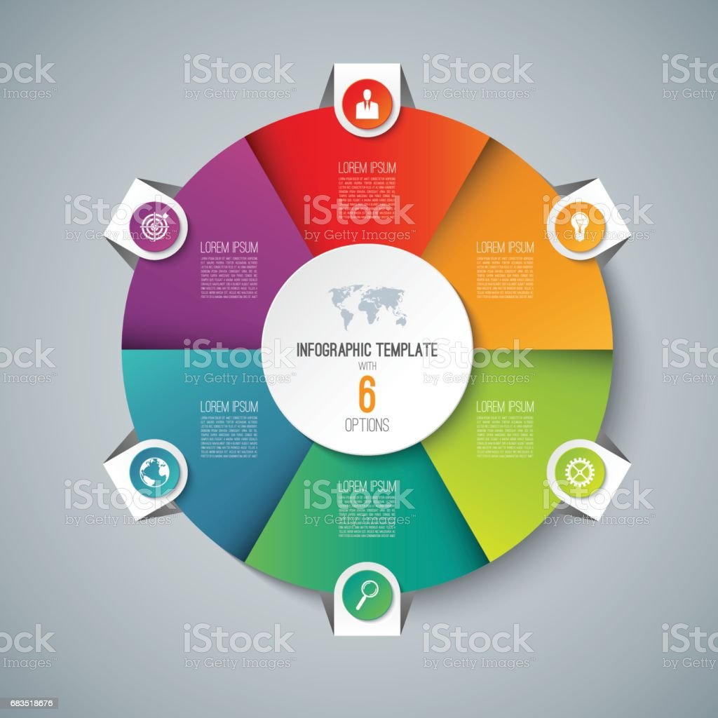Infographic pie chart circle template with 6 options can be used infographic pie chart circle template with 6 options can be used as cycle diagram geenschuldenfo Images