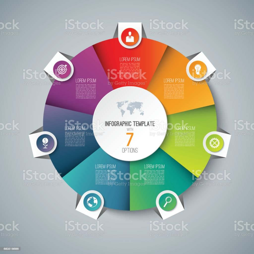 Infographic pie chart circle template with 7 options can be used as infographic pie chart circle template with 7 options can be used as cycle diagram geenschuldenfo Gallery