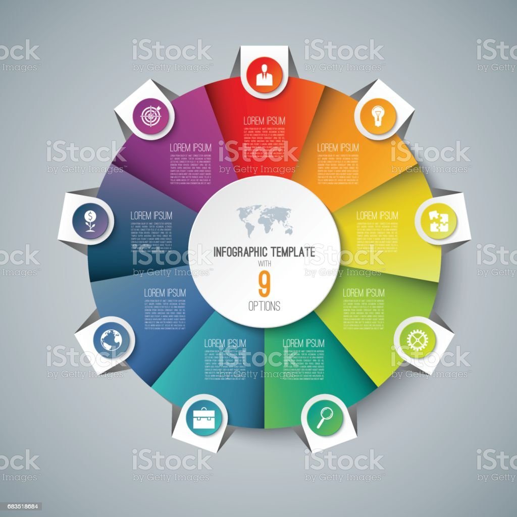 infographic pie chart circle template with 9 options can be used as