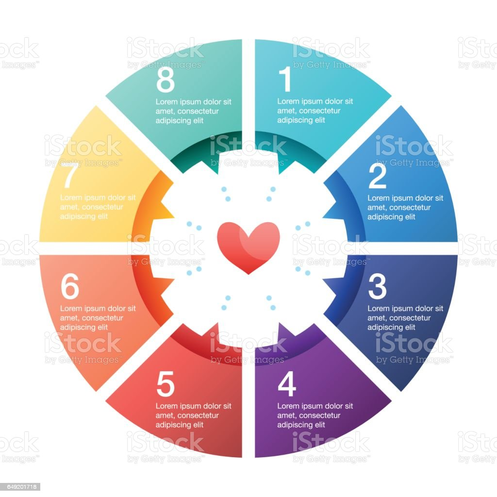 Infographic pie chart with a heart shape icon stock vector art infographic pie chart with a heart shape icon royalty free infographic pie chart with a geenschuldenfo Gallery