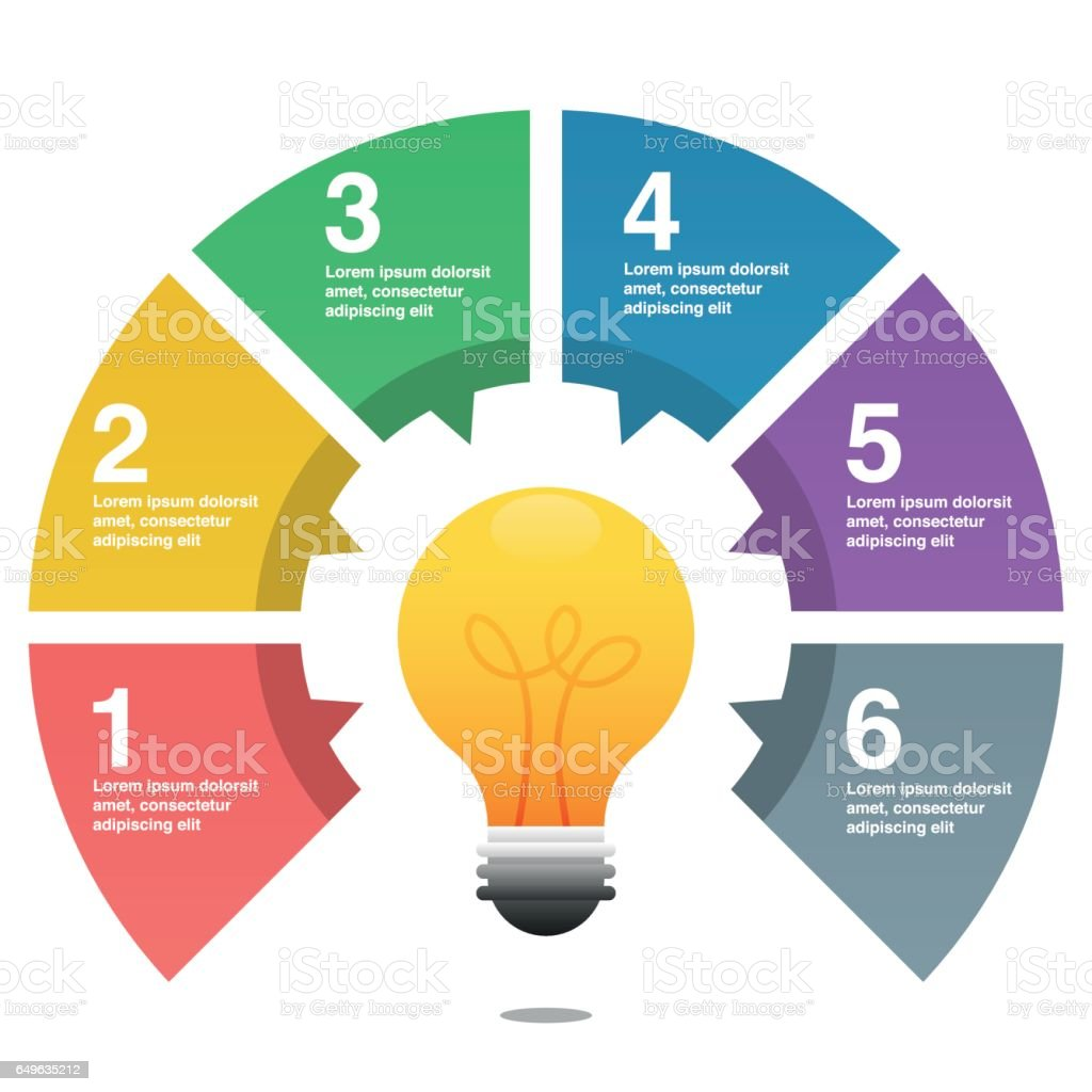 Infographic pie chart with light bulb stock vector art more infographic pie chart with light bulb royalty free infographic pie chart with light bulb stock nvjuhfo Images