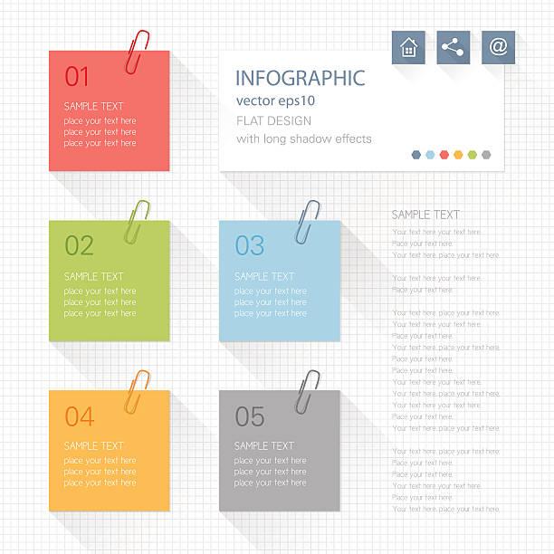 인포그래픽-게시 지급어음 - 종이 클립 stock illustrations