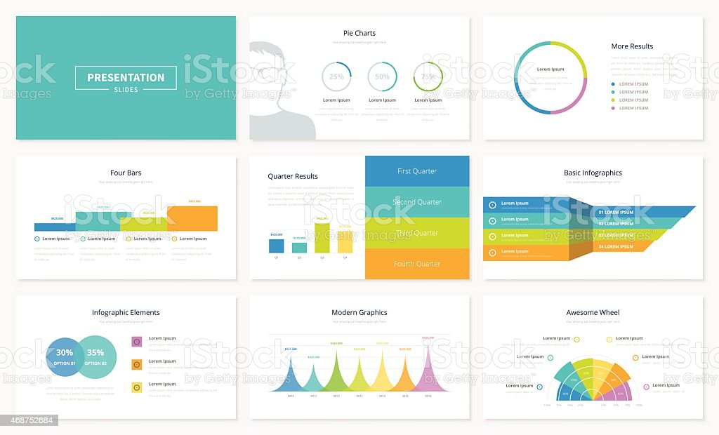 Infographic presentation slide templates and vector brochures for business vector art illustration