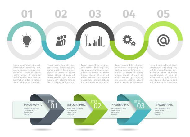 infographisches prozessdiagramm und pfeile mit step-up-optionen. vector vorlage. - schaubild stock-grafiken, -clipart, -cartoons und -symbole