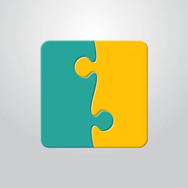 infografik puzzle 2 farbe einzelteile mosaik, details, fliesen, teile. quadratische daten puzzle. - puzzle stock-grafiken, -clipart, -cartoons und -symbole