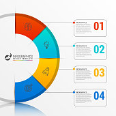 Infographic report template with 4 steps. Business concept. Vector illustration