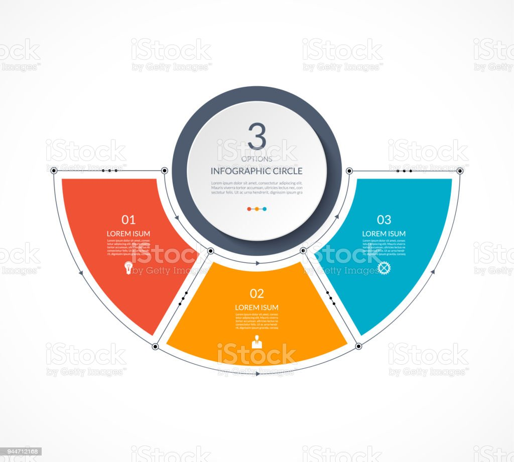 Infographic semi circle in thin line flat style. Business presentation template with 3 options, parts, steps. Can be used for cycle diagram, graph, round chart. royalty-free infographic semi circle in thin line flat style business presentation template with 3 options parts steps can be used for cycle diagram graph round chart stock illustration - download image now