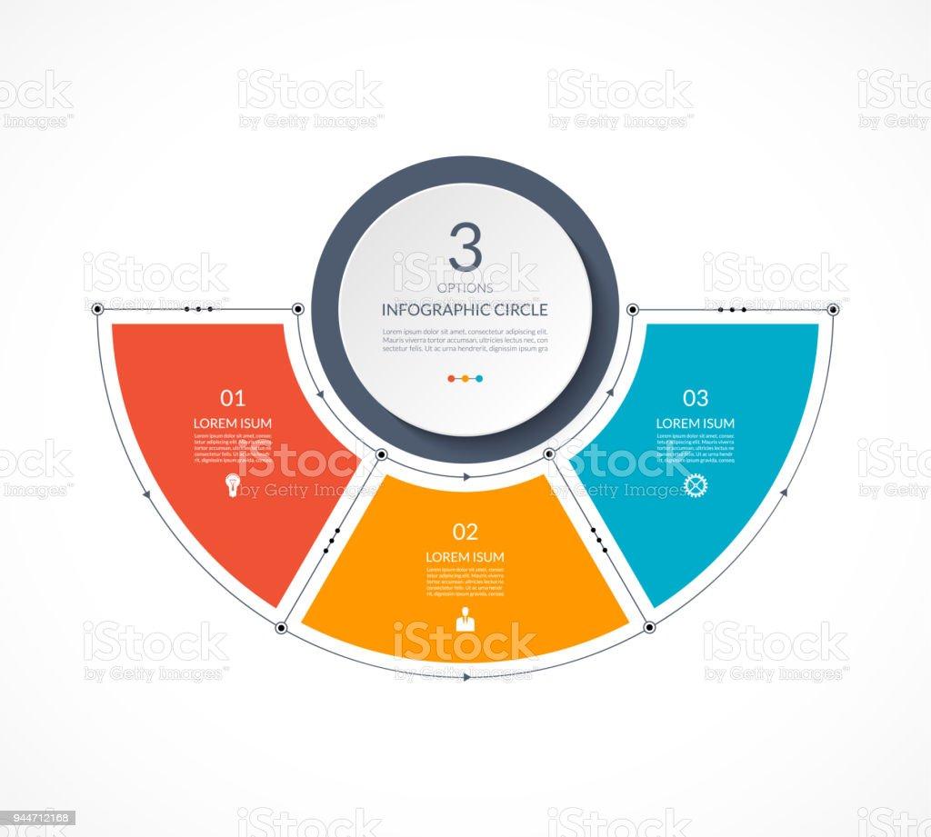 Infographie demi-cercle dans un plat style ligne mince. Modèle de présentation d'entreprise avec 3 options, des pièces, des étapes. Peut être utilisé pour le diagramme cyclique, graphique, tableau rond. - Illustration vectorielle