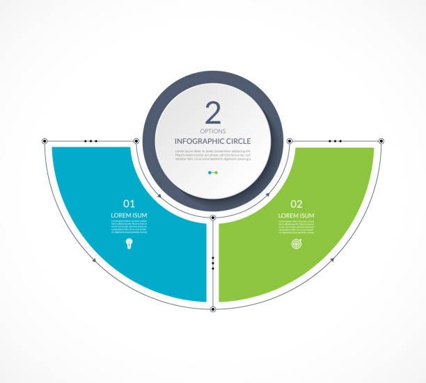 bildbanksillustrationer, clip art samt tecknat material och ikoner med infographic halv cirkel i tunn linje platt stil. business presentationsmall med 2 alternativ, delar, steg. kan användas för cykliskt diagram, diagram, runda diagram. - två objekt