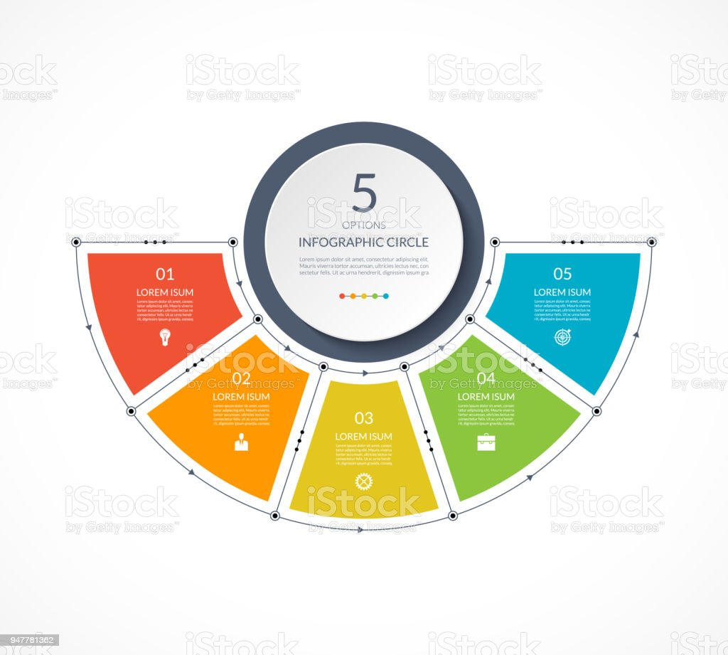 Infographic Semi Circle In Thin Line Flat Style Business Presentation Template With 5 Options