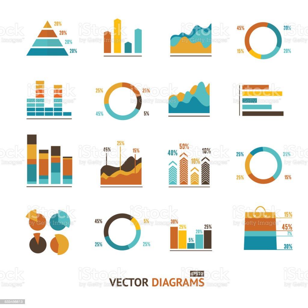 Infografik set Elemente, Diagramm, Diagramm an. – Vektorgrafik