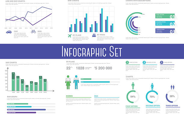 stockillustraties, clipart, cartoons en iconen met infographic set. information graphics and charts - lijngrafiek