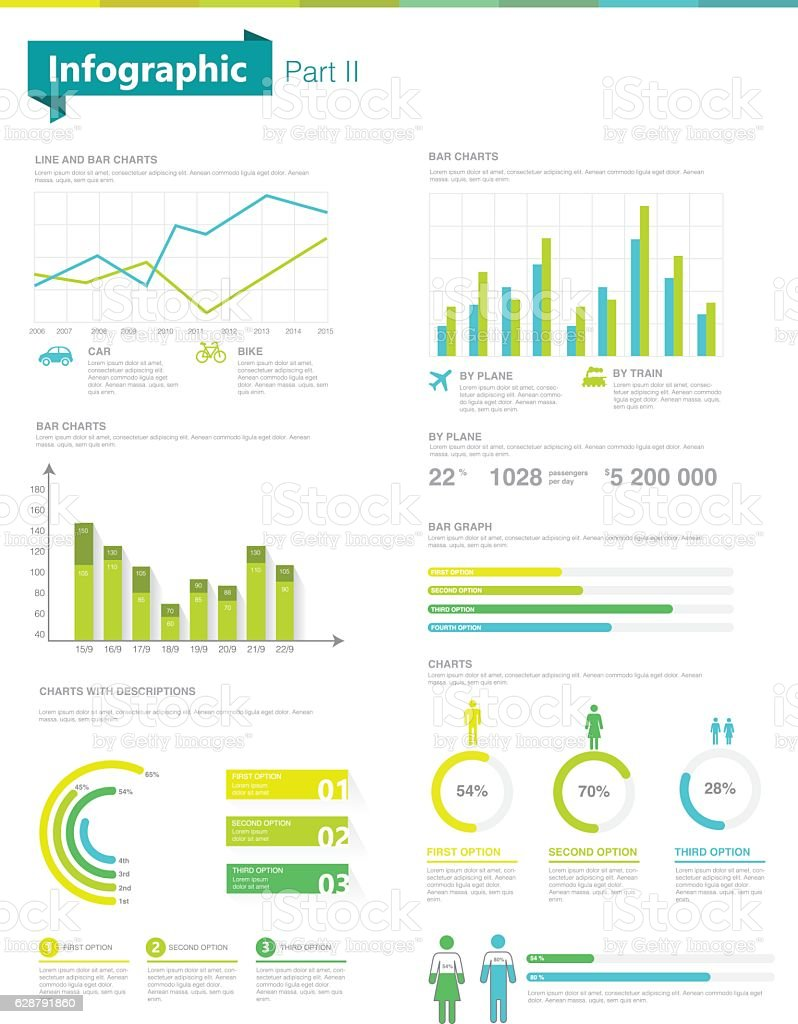 Infographic set.  Information Graphics and charts vector art illustration